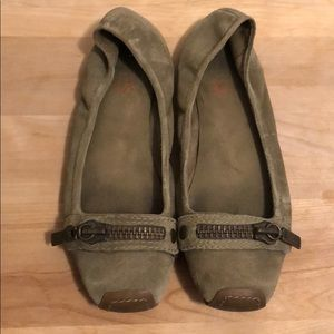 KORS Michael Kors Olive Suede Flats with Zippers